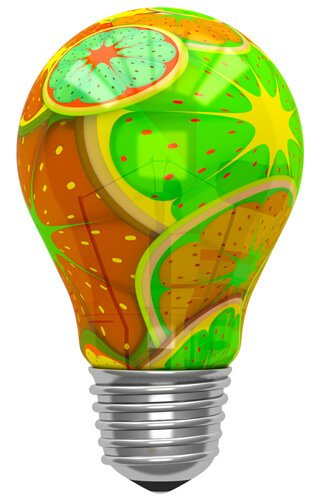 An illustration of fruit slices in a lightbulb