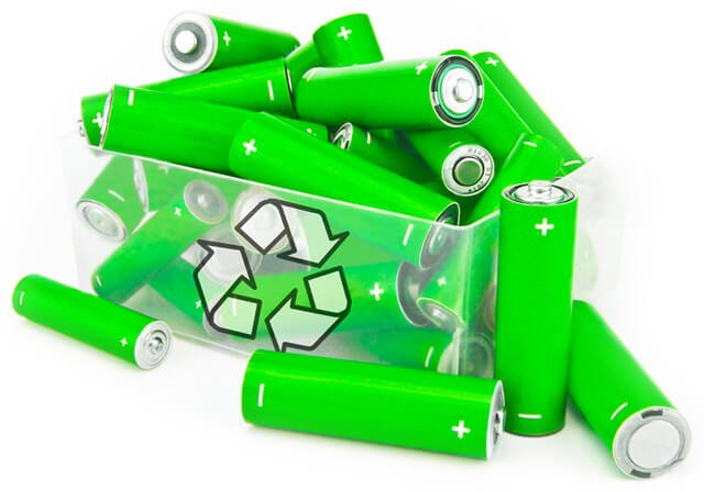 Bright green batteries overflow from a recycling container