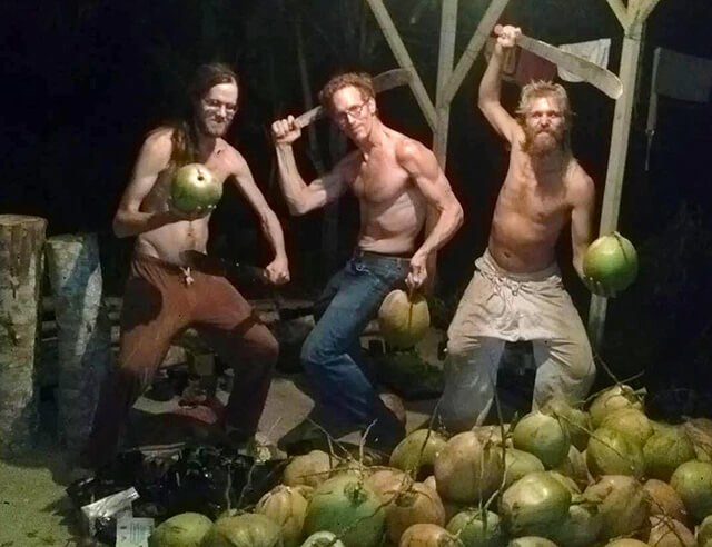 Jay Kaiser and friends cut coconuts at Terra Frutis