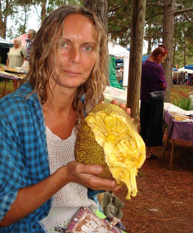 Kvetoslava Martinec holds a jackfruit