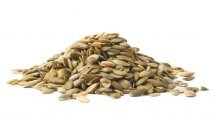 Pumpkin seeds stacked in a pile