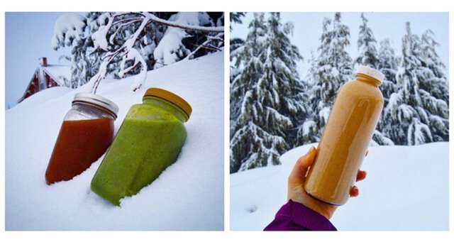 Tarah Millen's smoothies and juices are photographed in the snow