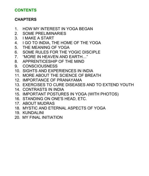 Table of Contents of Yoga Gave Me Superior Health by Theos Bernard