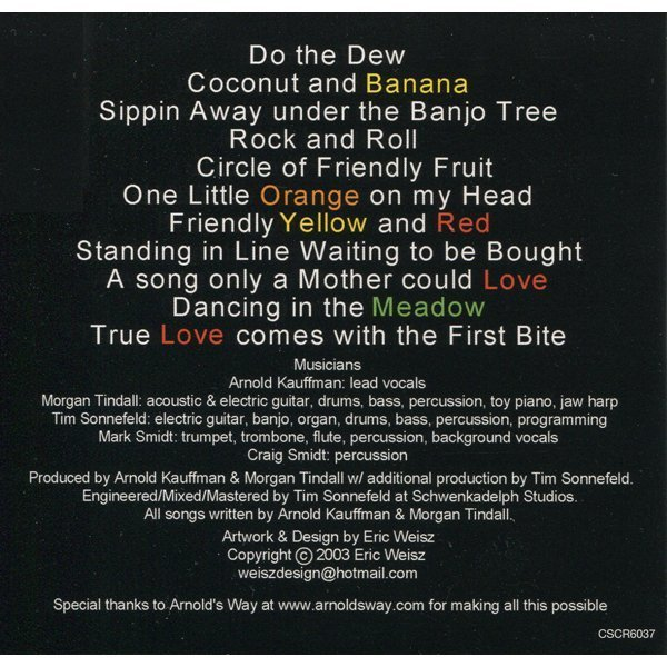 Can't Make a Mistake with Arnold Kauffman - raw vegan music - back cover - Fruit-Powered Store