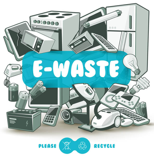Illustration of e-waste recycling