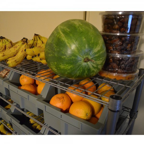 Home food storage racks - food storage bins - Seville Classics 7-Shelf Rack System with fruits on shelves - Fruit-Powered Store