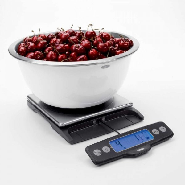 OXO food scales - OXO Good Grips 11-Pound Food Scale with bowl of cherries - digital food scales - Fruit-Powered Store
