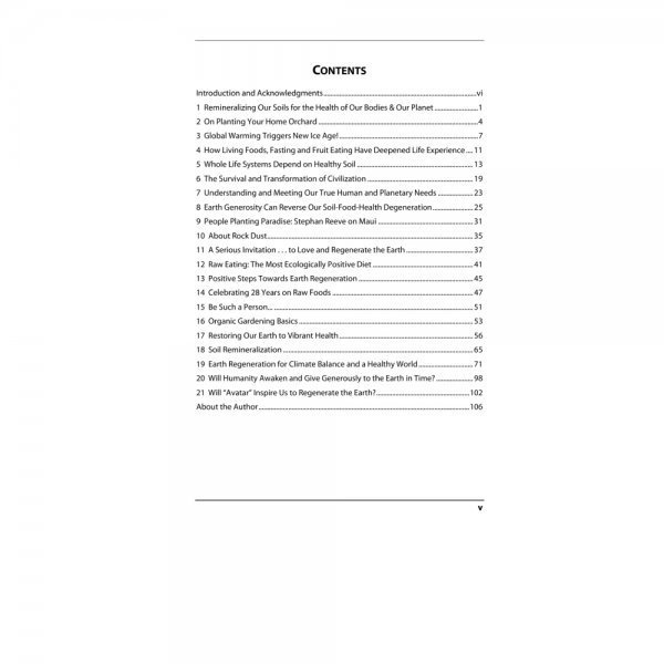 Regenerate the Earth by Don Weaver - table of contents - Fruit-Powered Store
