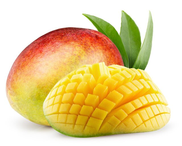 Adjacent to a whole one, a mango is sliced into cubes