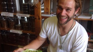 Drew Martin enjoys a meal at Arnold's Way on July 13, 2015