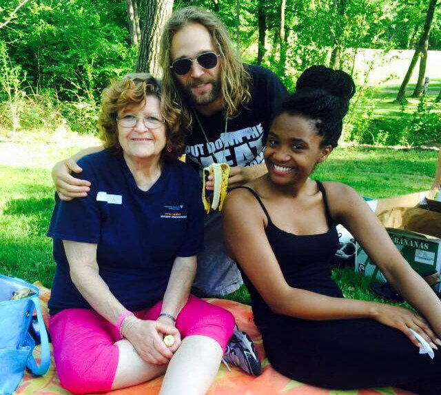 Drew Martin with Sharon Gillespie and Ida at Banana Fest