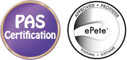 Logos for Egoscue PAS certification and ePete