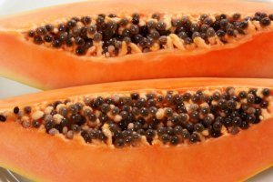 Don Bennett's Recipe for a Healthy Meal - papaya halves on a plate - Fruit-Powered