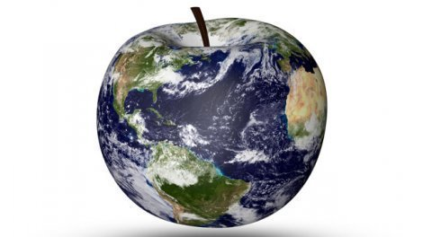 Illustration of an apple as a globe