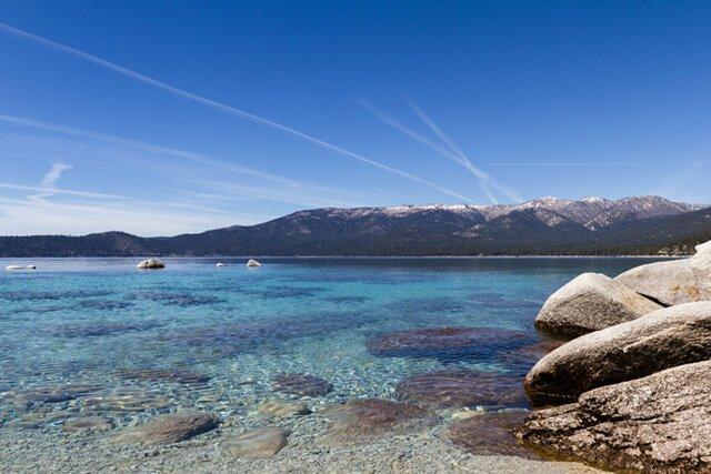Chemtrails streak the Lake Tahoe sky
