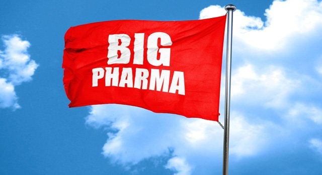 "Red flag with the words ""Big Pharma"" saves"