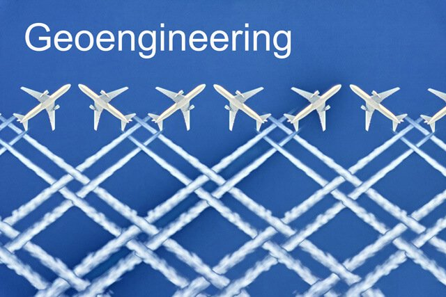 The word geoengineering with planes spraying chemtrails