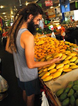 Mikkel Gisle Johnsen shops for mangos in Cairns
