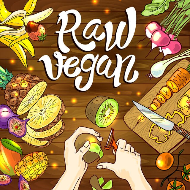 Illustration of raw vegan foods