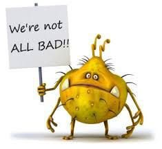 "Bacteria holds a sign saying, ""We're not all bad!"""
