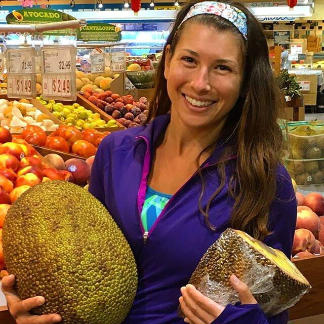 Rawthenticity's Lori Weiss holds jackfruit