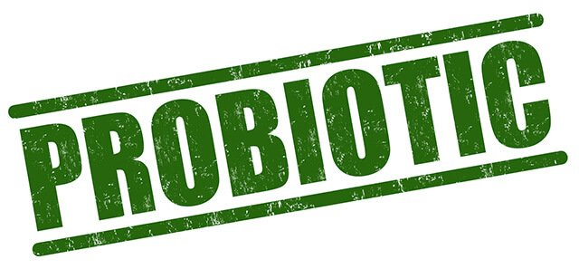 "The word ""probiotic"" in a green rubber stamp text"