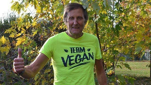 Arnold Kauffman wears a Team Vegan T-shirt outside
