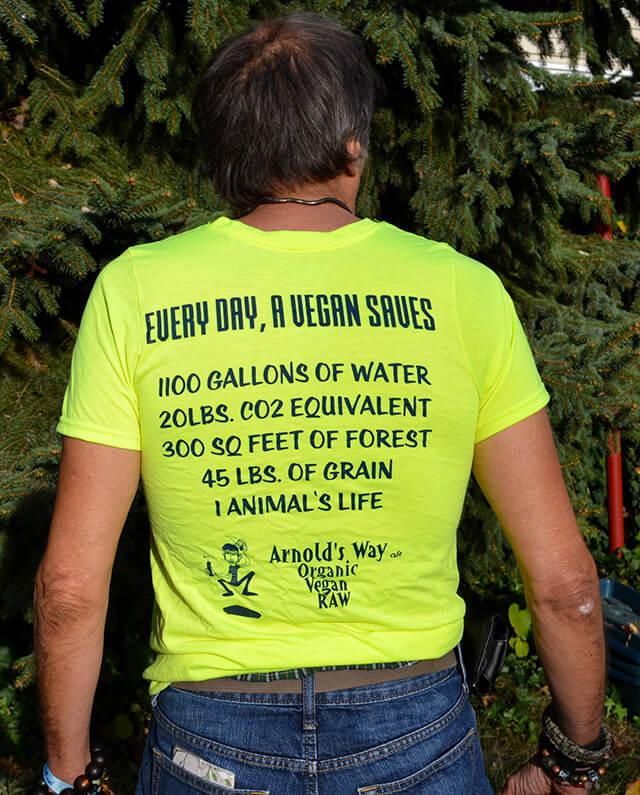 The back side of a Team Vegan T-shirt