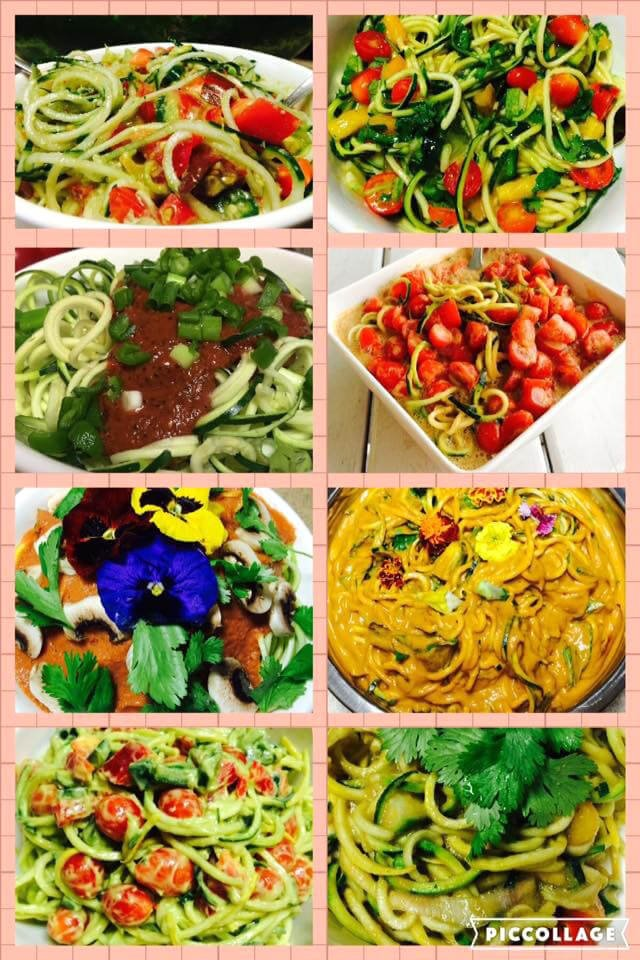 A collage of raw food dishes