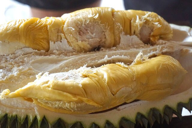 An open-faced durian