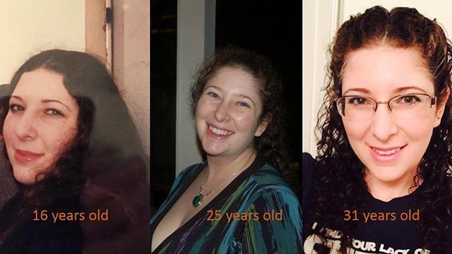 Rebecca Rosenberg is photographed at 16, 25 and 31 years of age