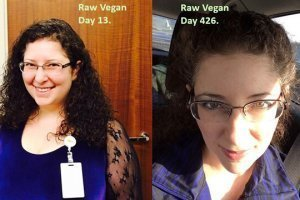 Rebecca Rosenberg is photographed on Days 13 and 426 of her raw food journey