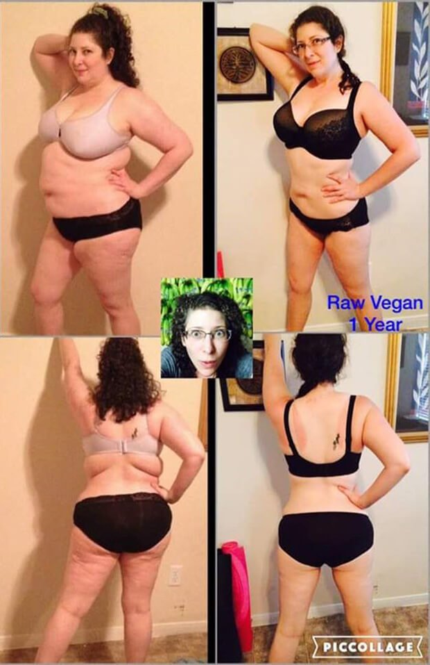 Rebecca Rosenberg is photographed before and after adopting a raw food diet