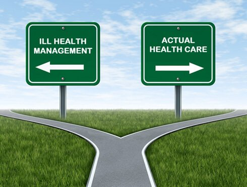 "Forks in the road leading to ""Ill health management"" and ""Actual health care"""