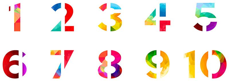 The numbers 1 through 10 in a range of colors