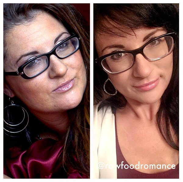 Closeup photographs of Melissa Raimondi before and after going fruit-based raw vegan