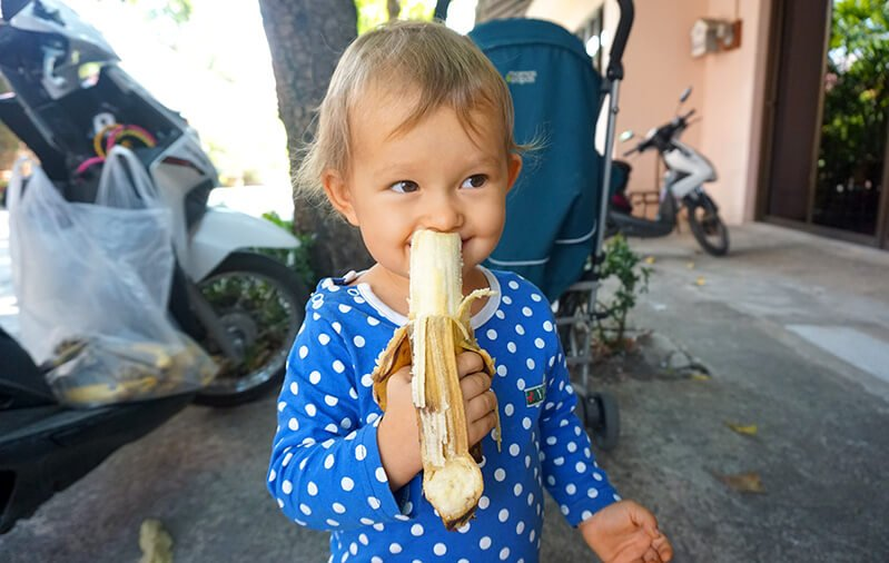 Elanie Tarbath enjoys eating a banana