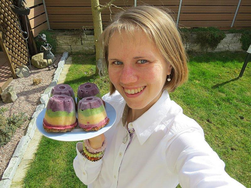 Eva Straub holds a colorful recipe