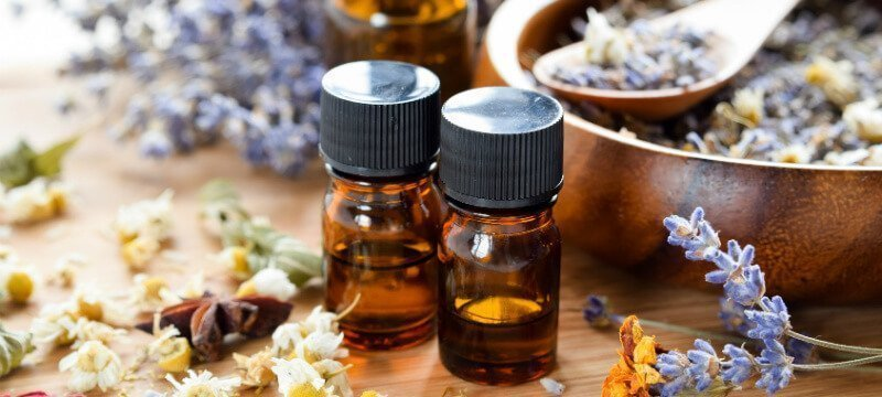 Essential oils are photographed in bottles with dried herbs