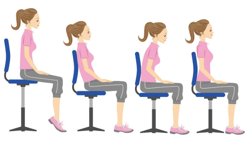 Illustration of a woman exhibiting different postures while seated