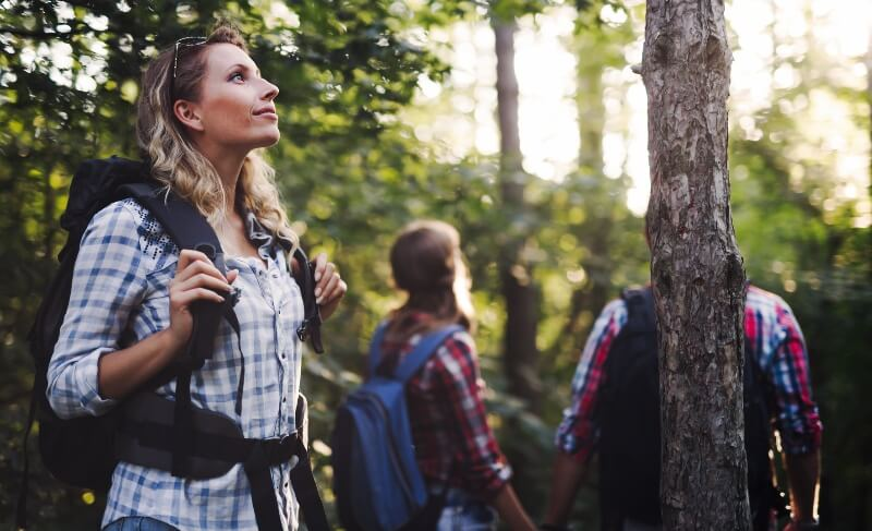 A woman pauses during a walk in a forest with backpackers