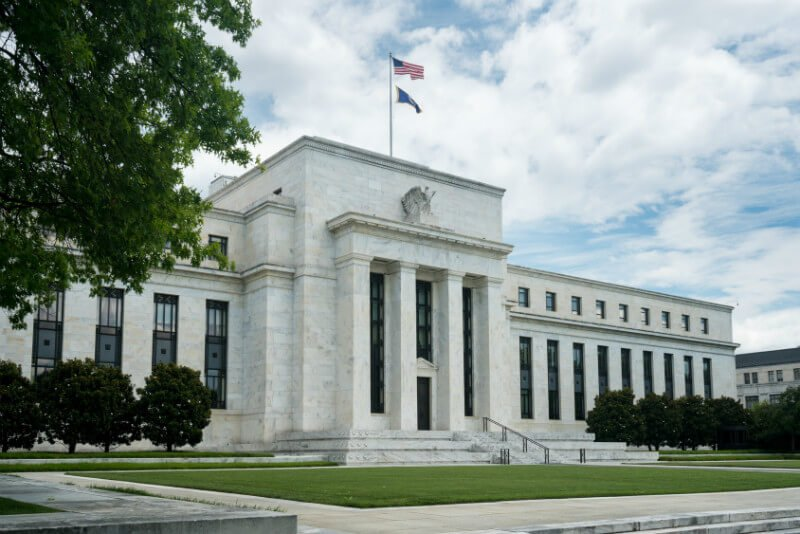 The Federal Reserve building in Washington, D.C., is photographed