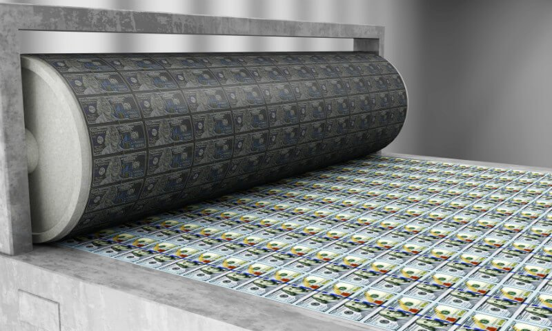 A printer produces U.S. hundred-dollar bills