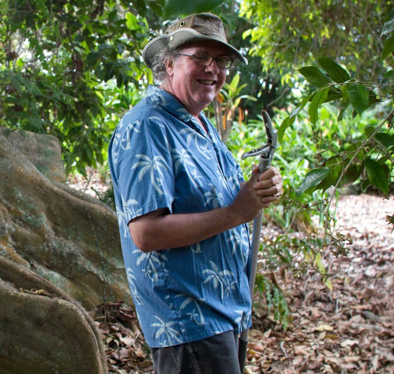 Ken Love is photographed while on a fruit expedition