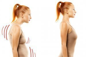 Composite image showing how postural alignment therapy affects a woman's posture