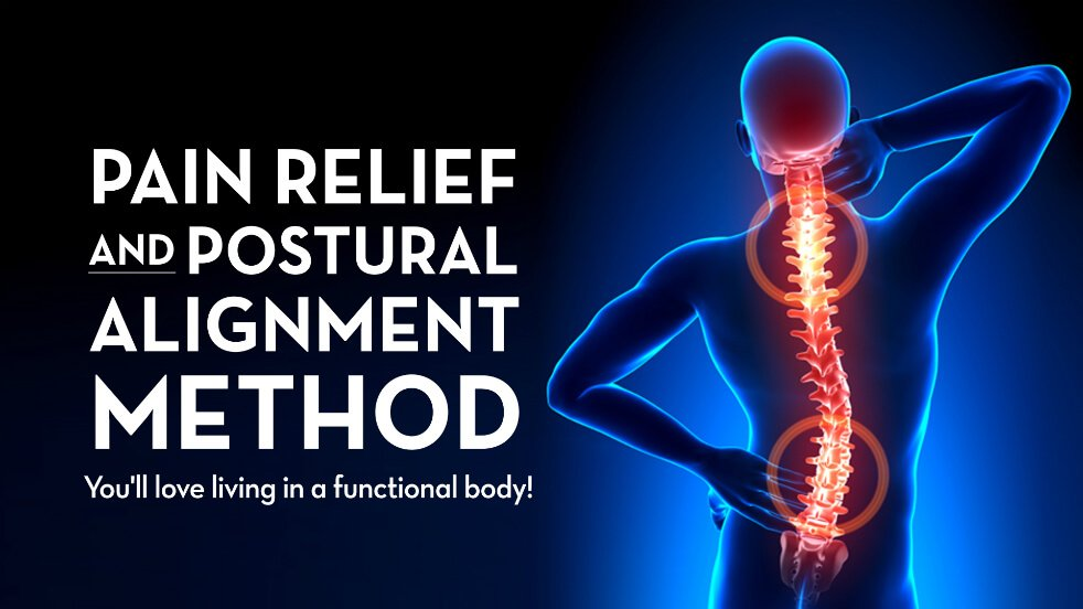 Pain Relief and Postural Alignment Method logo with tagline