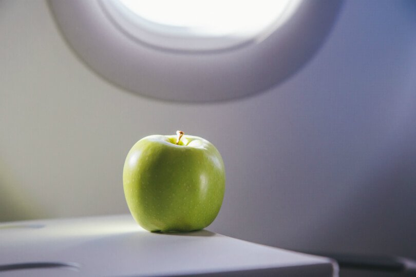 An apple sits on an airplane tray