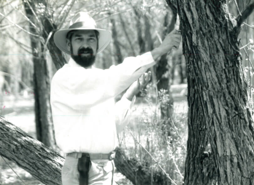 David Christopher beside a tree, obtaining healing herbs for healing