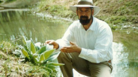 David Christopher crouches beside herbs