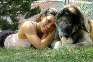 Michelle Jolene with dog Kaya on grass - everlasting love - afterlife message